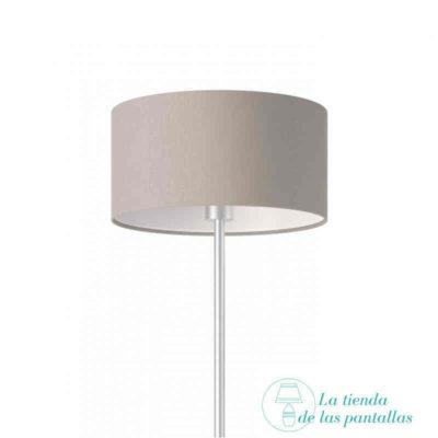 pantalla lampara cilindrica lino gris