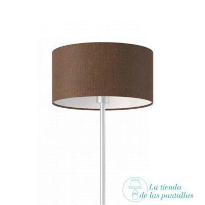 pantalla lampara cilindrica lino marron
