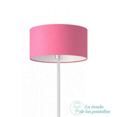 pantalla lampara cilindrica lino rosa