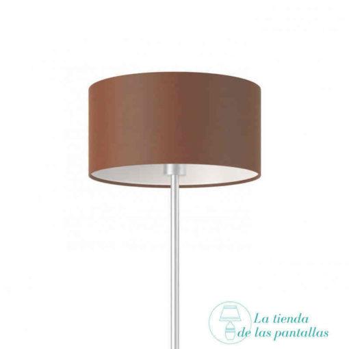pantalla lampara cilindrica marron