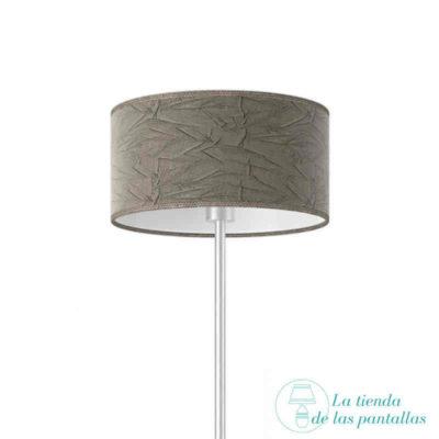 pantalla lampara cilindrica rugoso ceniza