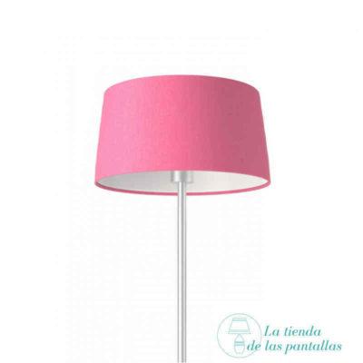 pantalla lampara conica lino rosa