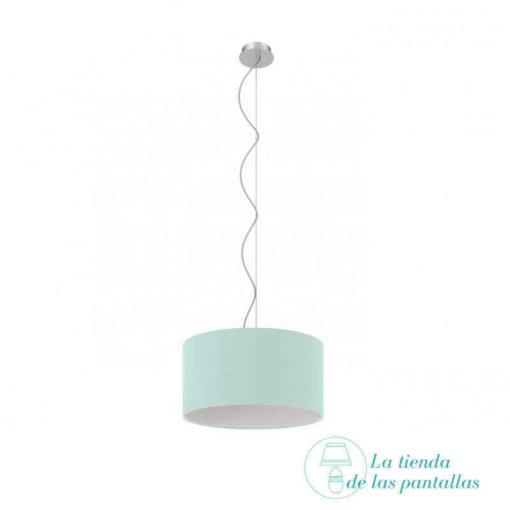 pantalla lampara techo cilindrica azul celeste