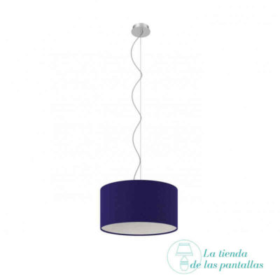 pantalla lampara techo cilindrica azul oscuro