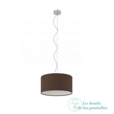 pantalla lampara techo cilindrica marron
