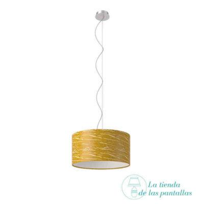 pantalla lampara techo cilindrica oro