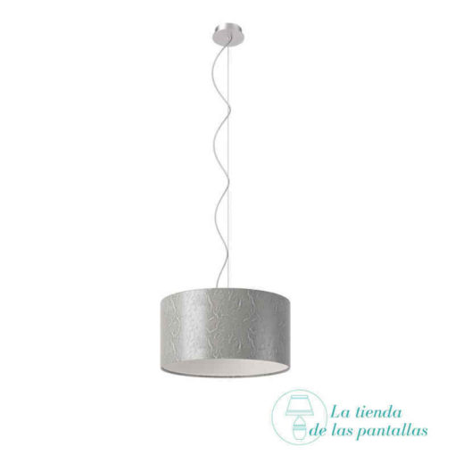 pantalla lampara techo cilindrica plata