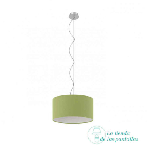 pantalla lampara techo cilindrica verde oliva