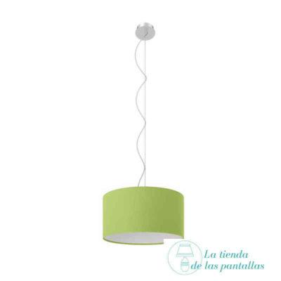 pantalla lampara techo cilindrica verde pistacho
