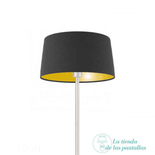 pantalla lampara conica negro y oro