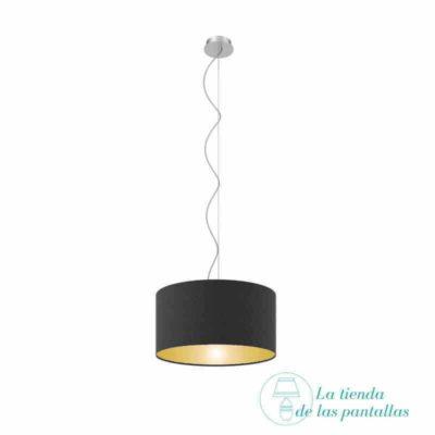 pantalla lampara techo cilindrica negro y oro
