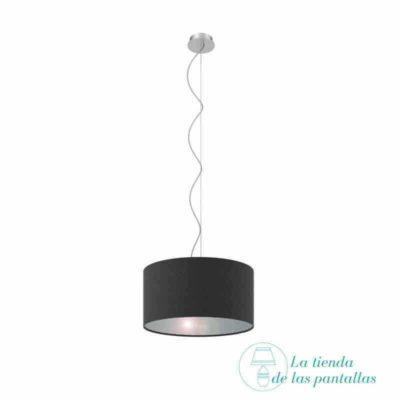pantalla lampara techo cilindrica negro y plata