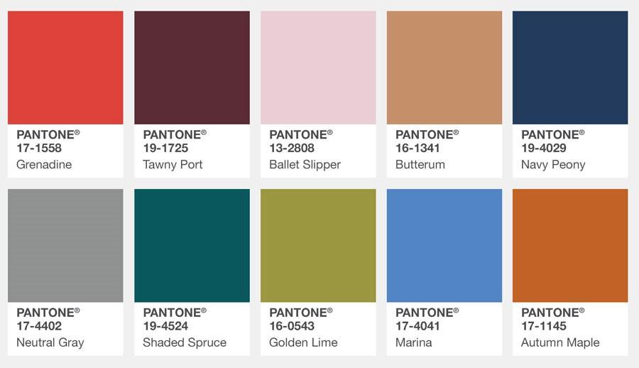 Los colores de moda para el otoño invierno 2017-18 del Pantone
