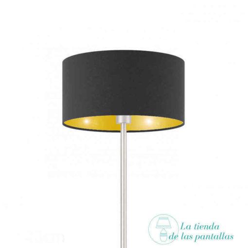 Pantalla de lámpara cilíndrica negro y oro