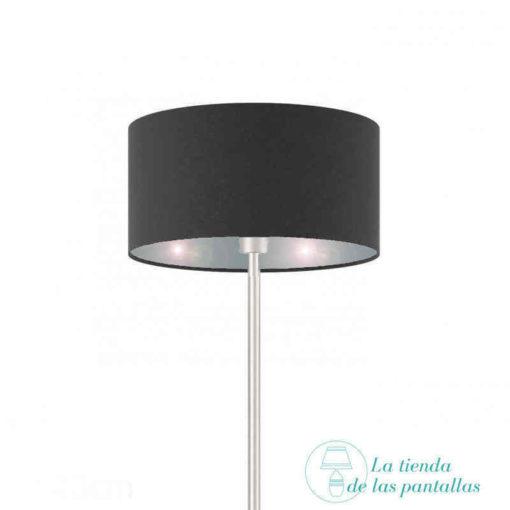 Pantalla de lámpara cilíndrica negro y plata